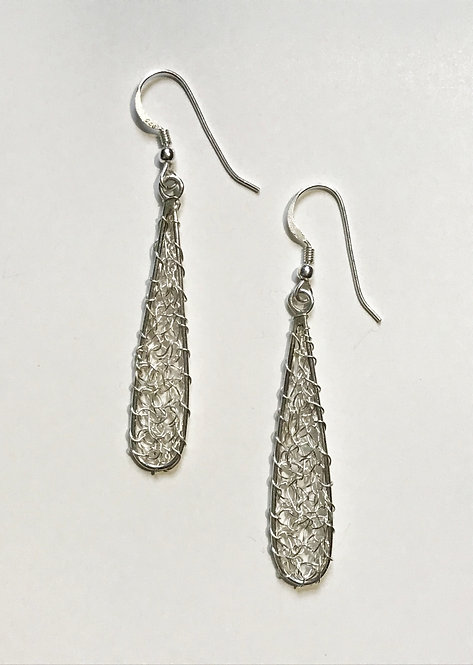 Crochet Silver Wire Teardrop Earrings