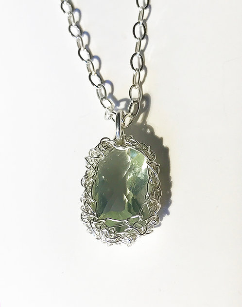 Crochet Green Amethyst Pendant Necklace