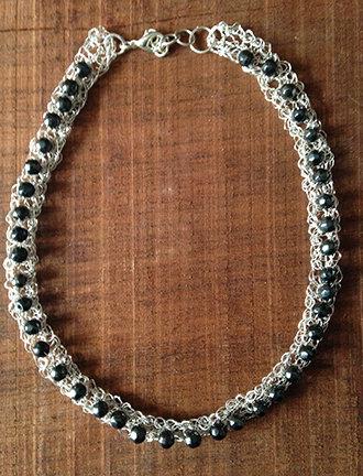 Wire crochet Dark gray/black beaded choker necklace.