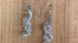 Wire crochet silver earrings