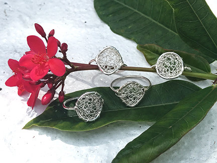 Wire crochet silver ring