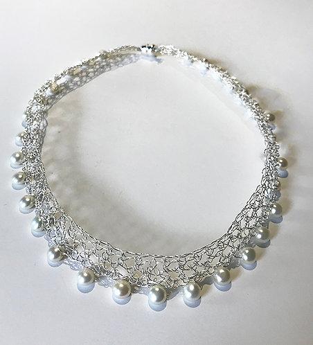 Crochet Pearl Choker Necklace