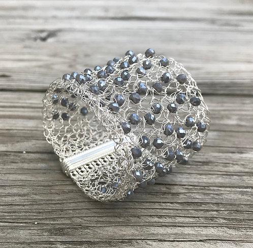 Gray Crystal Crochet Cuff