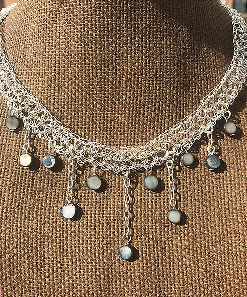 Wire crochet choker necklace with river shell beads
