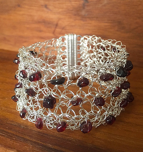 Wire Crochet Garnet Cuff Bracelet