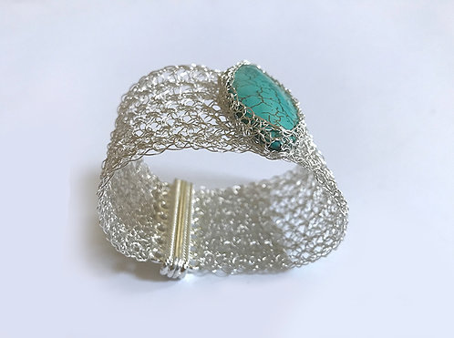 Crochet silver cuff with Turquoise stone