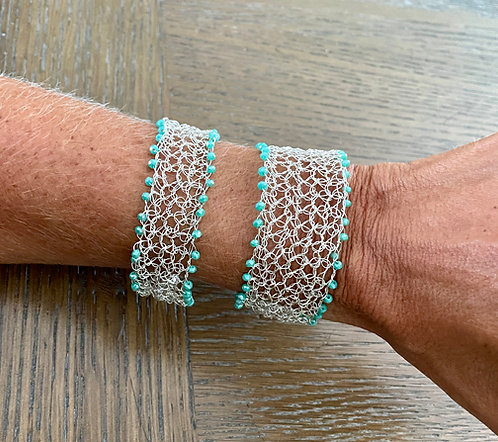 LargeTurquoise Crystal Crochet Cuff