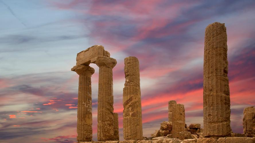 Templo grego antigo de Juno, Agrigento, Sicília