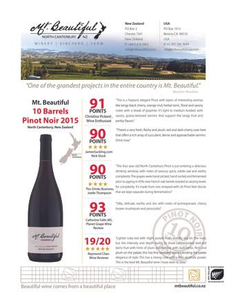 2015 Mt. Beautiful 10 Barrels Select Pin