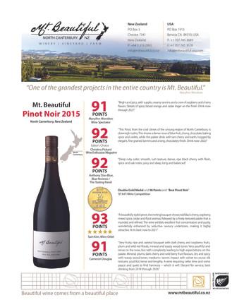 2015 Mt. Beautiful Pinot Noir Sell Sheet