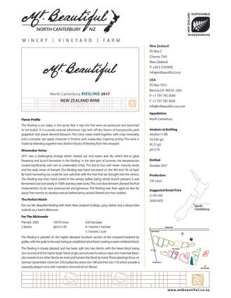 2017 Mt. Beautiful Riesling Tasting Note