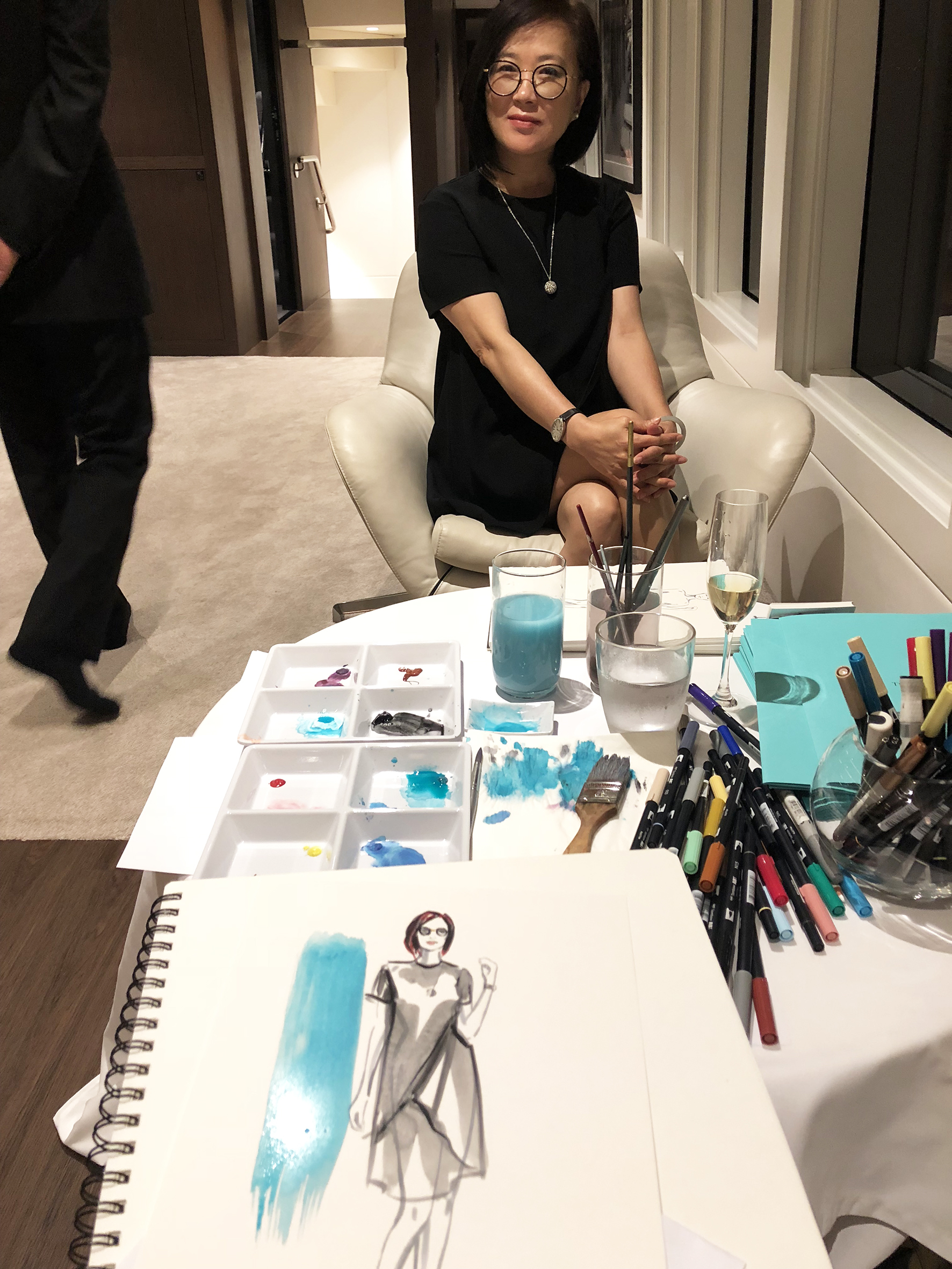 Erin Whitty live drawing art table