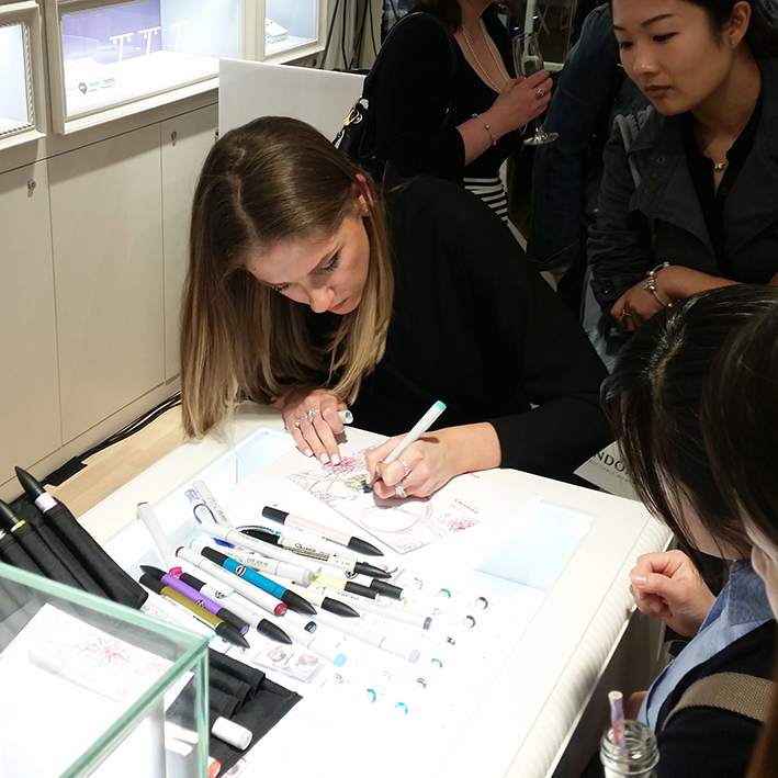 Erin Whitty live sketching in store