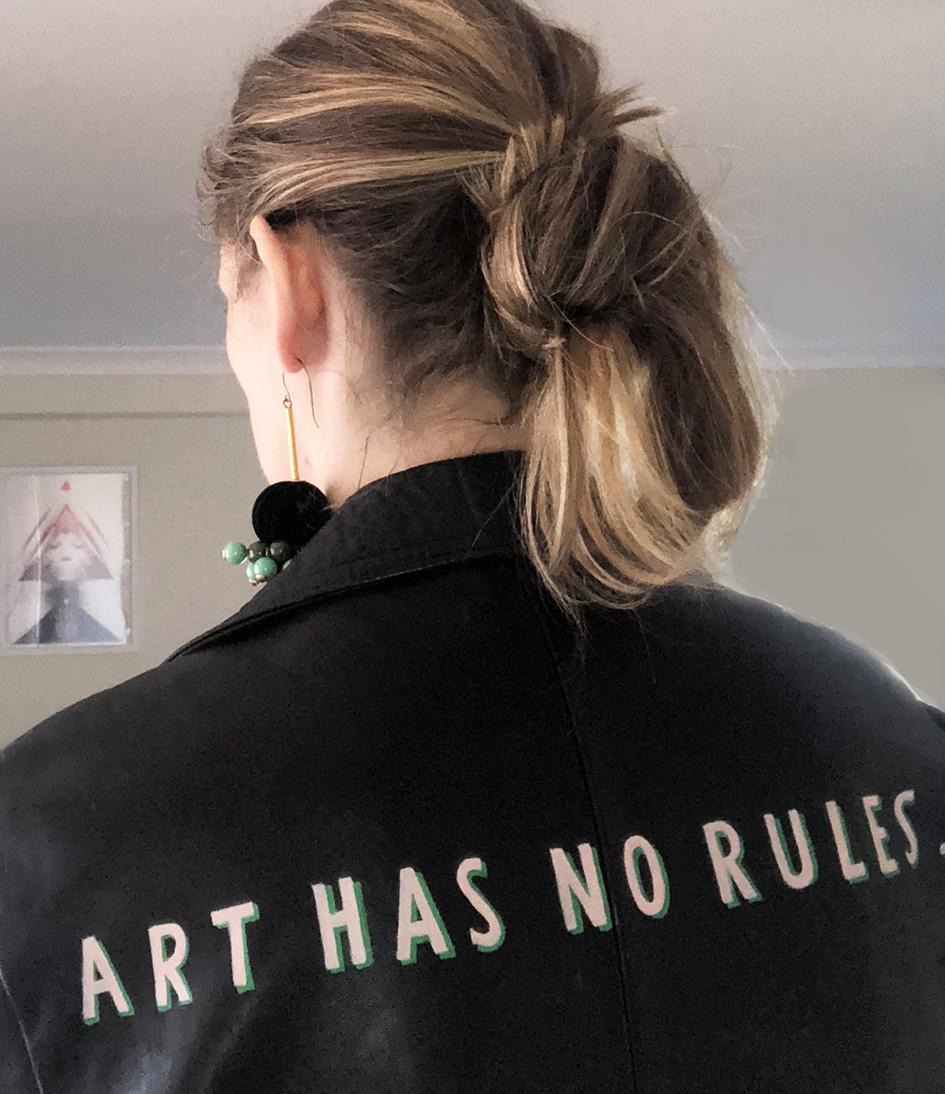 Bold Art Quote on Leather Jacket