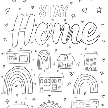 Stay home colouring page