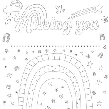 Missing you colouring page