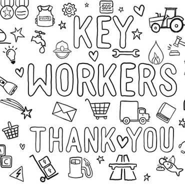Key workers colouring page