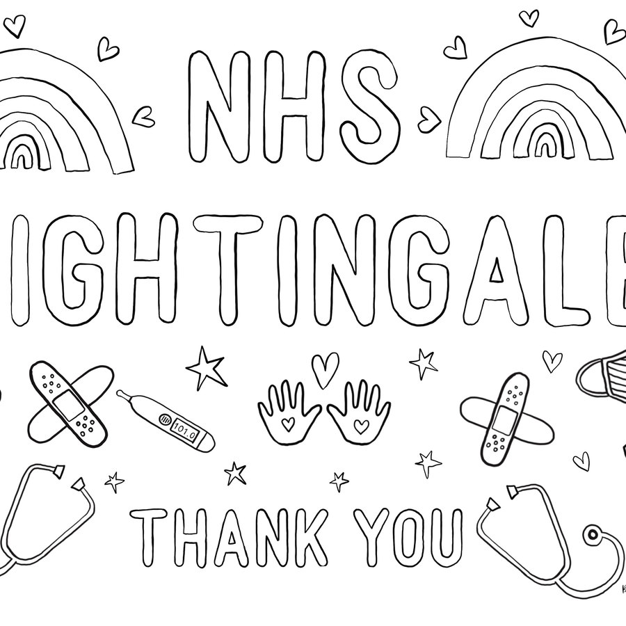 NHS Nightingale colouring page
