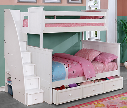 Beadboard Twin Full Bunk Bed