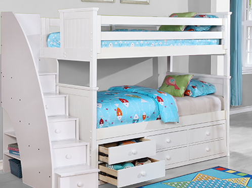 Beadboard Twin Twin Bunk Bed