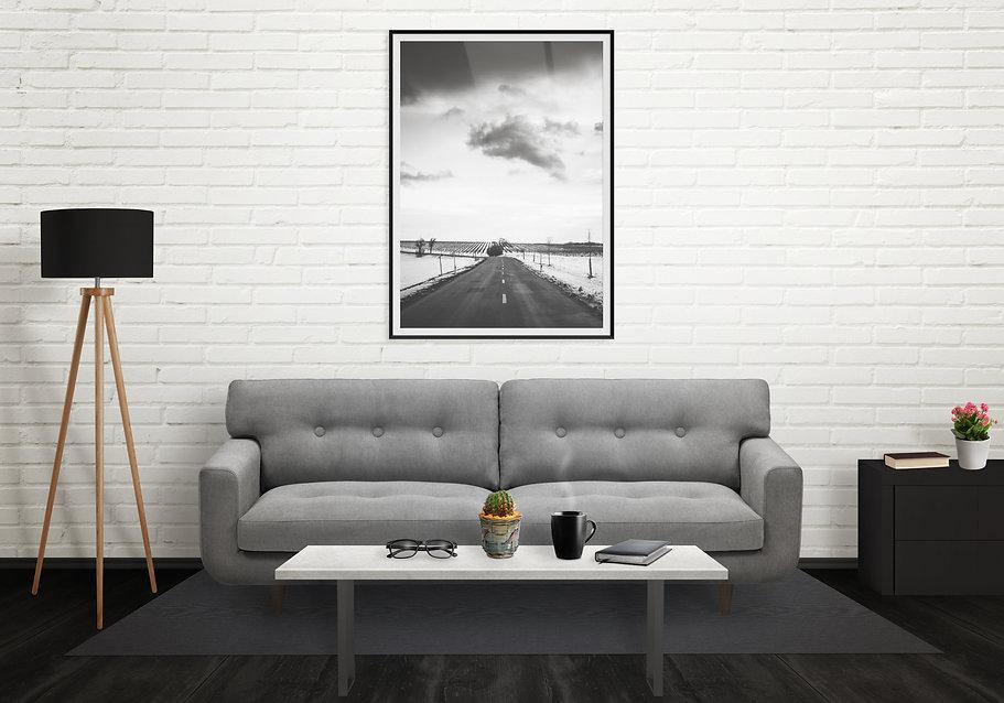 Roadpictureinverticalartframeonwall.Sofa