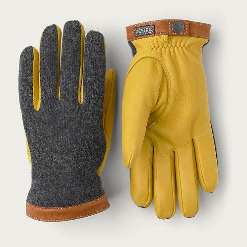 Gants Deerskin Wool tricot Yellow/Charcoal HESTRA