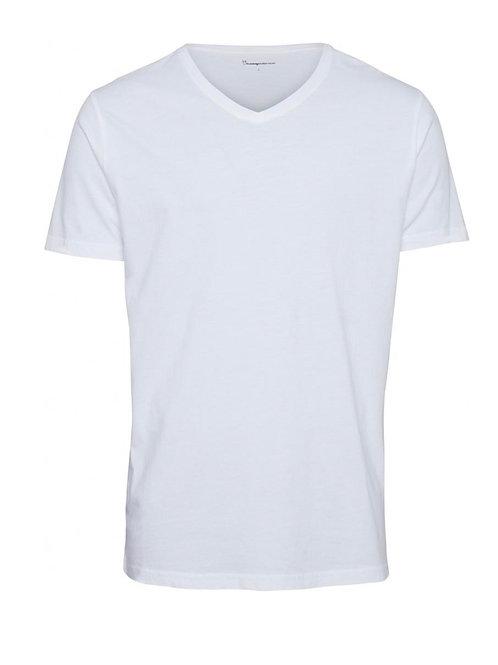 Tee-shirt Alder V neck White KNOWLEDGE COTTON APPAREL