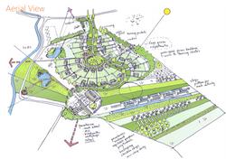 Arial shot of eco-village plan