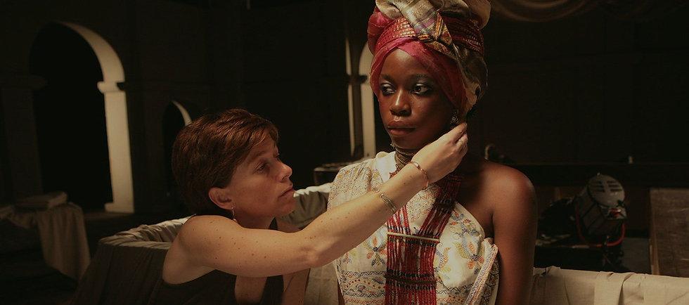 Actress in head gear and makeup artist.jpg