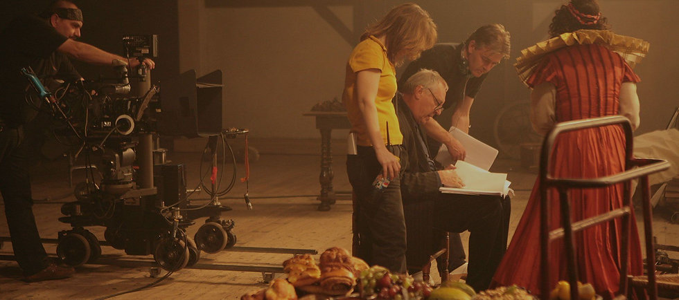 Sepia film set with camera crew and actors.jpg