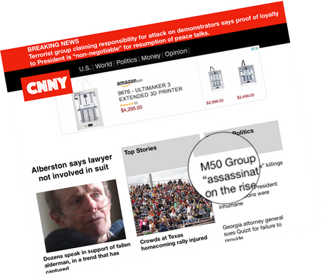 Media reporting on the skirmishes between the terrorist pro-President groups and freedom groups such as M50