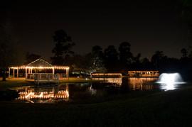 Fountain, Palapa, Bar at Night with Lights