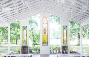 White Wedding Chapel with Stained Glass Wedding