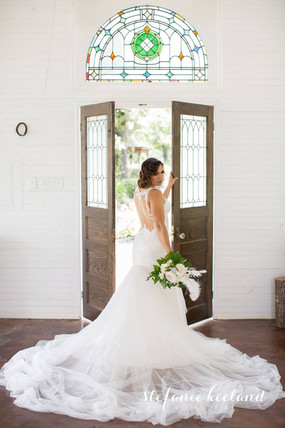 White Wedding Chapel with Antique Doors & Stained Glass