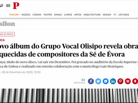 """ÍPSILON """"Novo álbum do Grupo Vocal Olisipo revela obras esquecidas de compositores da Sé de Évora"""""""