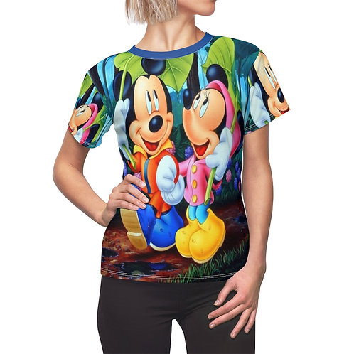 Micky Mouse and The Lady  Women's AOP Cut & Sew Tee