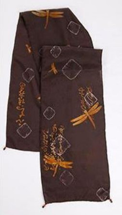 Black discharged silk scarf