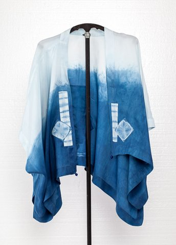 Front view, Indigo dyed silk wrap