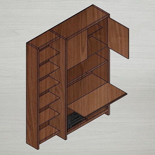 Home Office + Italic Bookshelf - Left