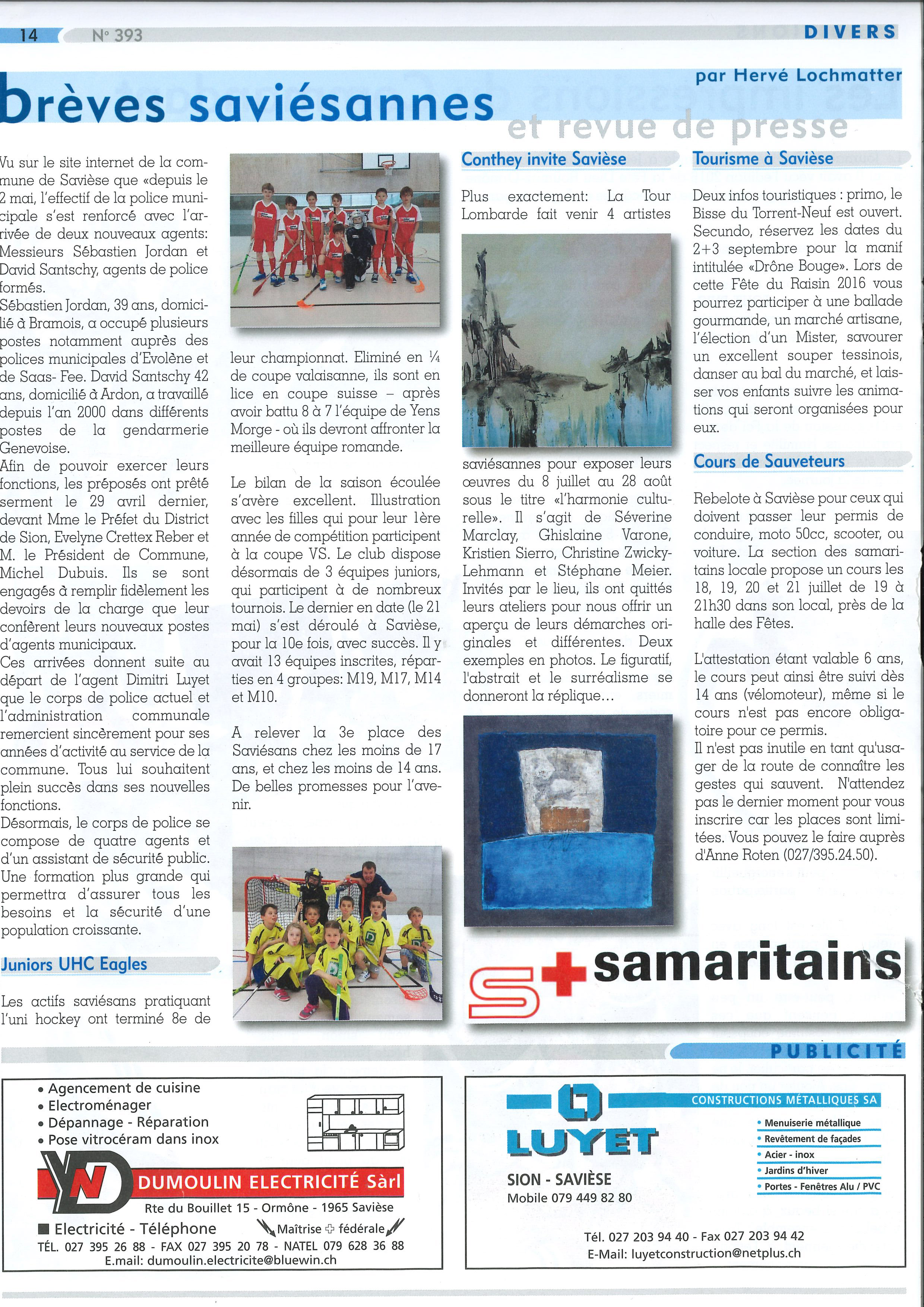 Article Le Journal de Savièse