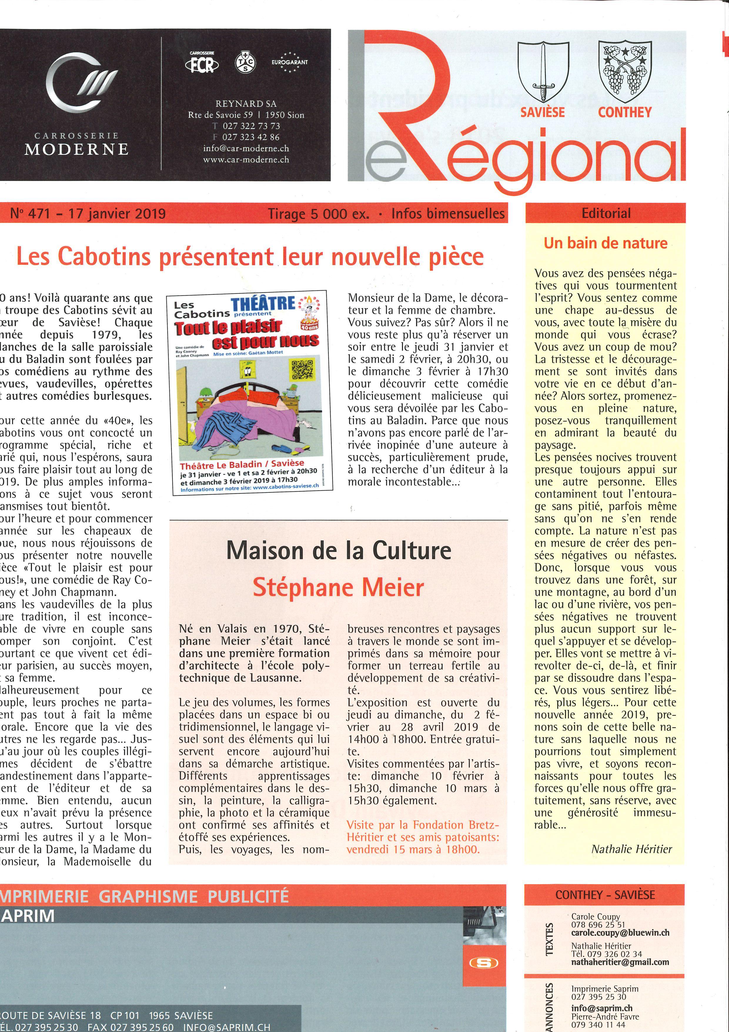 Article dans Le Régional