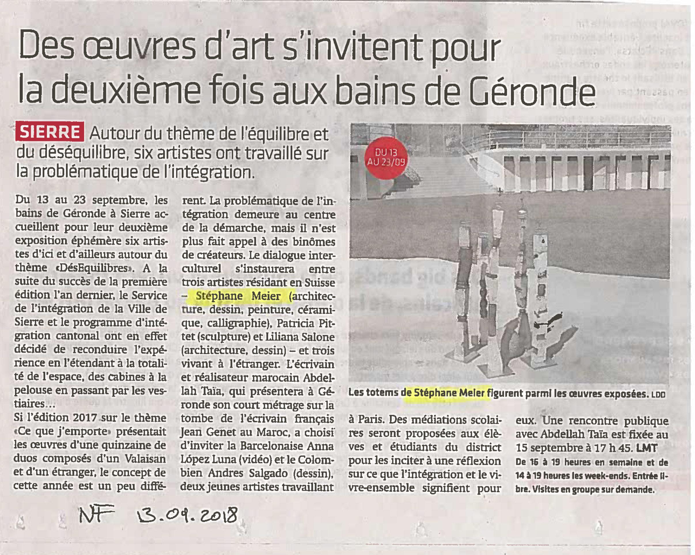 Article Le Nouvelliste papier