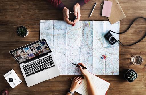 maps, computer, planning, compass