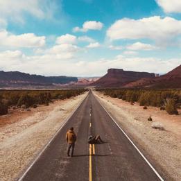 Brady Skye and Justin Wirtalla on a desert road somewhere in Utah