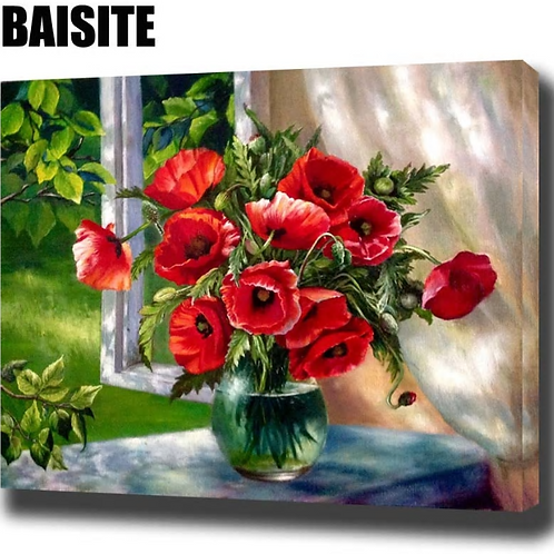 BAISITE DIY Framed Oil Painting By Numbers Red Flowers Window Pictures Canvas Pa