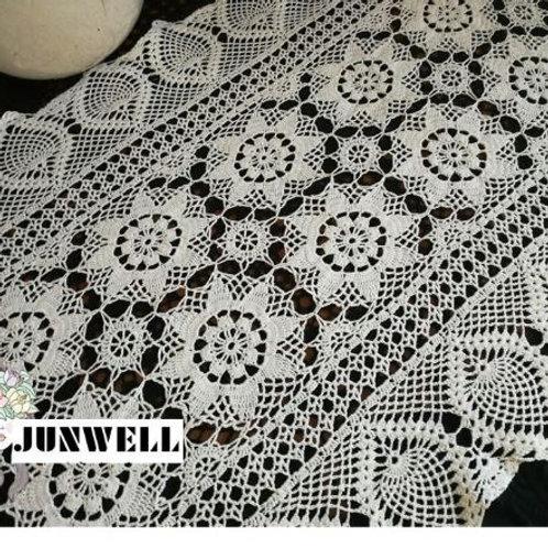 Junwell Handmade Crochet Flower Lace Table Runner European Rural Style Hollow Ou