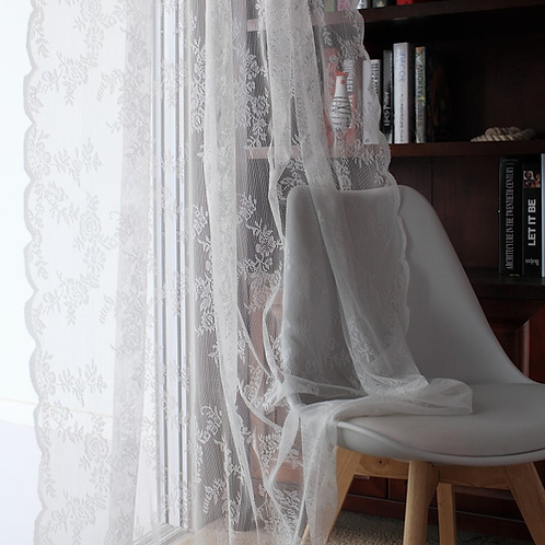 Lace Curtains Kitchen Window Rustic Home Decor White Sheer Curtains Flower