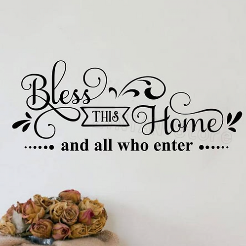 Bless This Home Wall Decal Entryway Decor Decal Christian Wall Sticker Home Deco