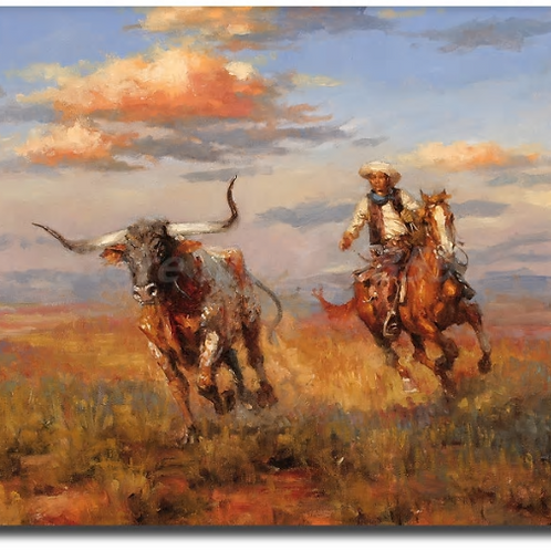 Andy Thomas Western Landscape Cowboy Style HD Canvas Painting Print Living Room