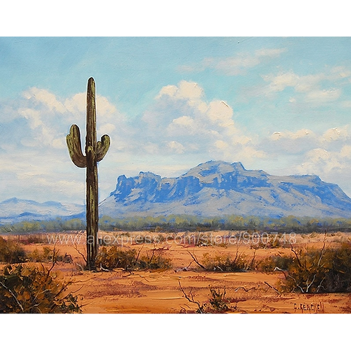 Huge oil paintingCactus Desert Painting Commissioned Arizona Landscape Southwest
